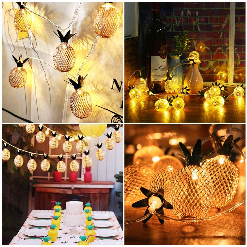 Metal Pineapple Party String Lights Battery Operated (5 feet)