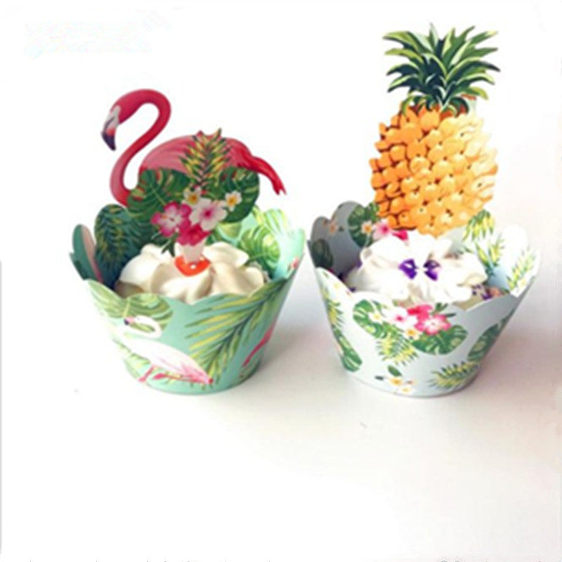 12 pcs - Tropical Cupcake Toppers and Wrappers Double Sided
