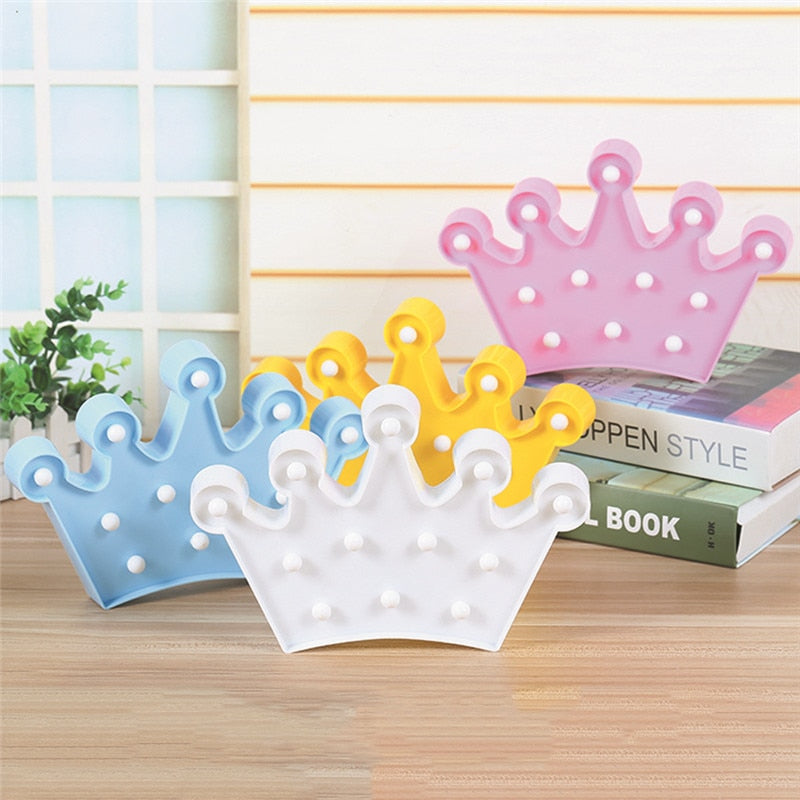 LED 5 Pt. Crown for Home Decor, Walls, Room, Desk & Backdrops (Blue,Yellow,White,Pink) Battery Operated