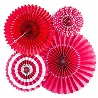 4 ct. - Party Paper Fans (Red)