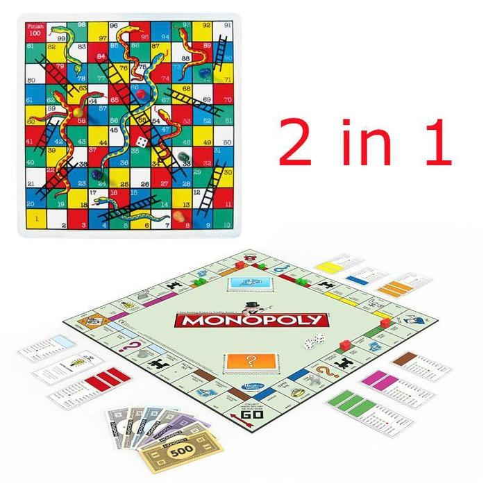 2-in-1 Monopoly and Snakes & Ladders Board Game | Shop Online | Snatcher