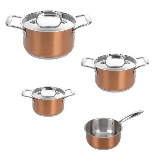 7 Piece Copper Color Stainless Steel Casserole Set | Shop Online | Snatcher