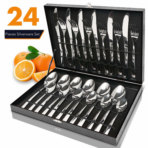 24 Piece Stainless Steel Cutlery Set In Box
