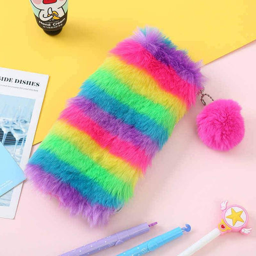 Faux Fur Rainbow Pencil Case | Shop Online | Snatcher
