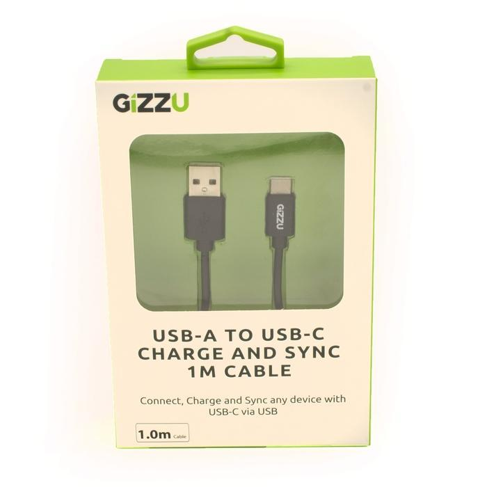GIZZU USB2.0 A to USB-C 1m Cable Black | Shop Online | Snatcher