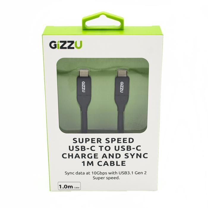 GIZZU USB3.1 C to USB-C 1m Cable Black | Shop Online | Snatcher