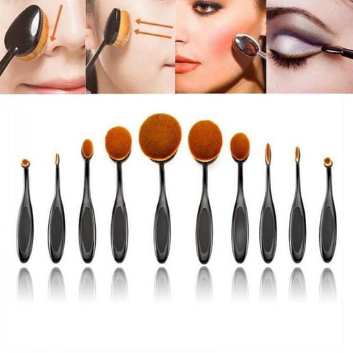 Incredible 10 Piece Oval Makeup Brushes | Shop Online | Snatcher