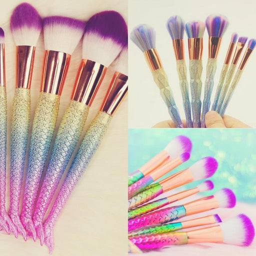 Mermaid Styled Make-Up Brushes- 7pcs | Shop Online | Snatcher