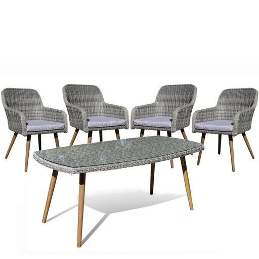 Seville Dining Set- Table With Glass And Chairs