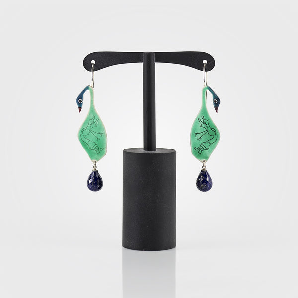 Duck Earrings with Lapis Lazuli (Large)