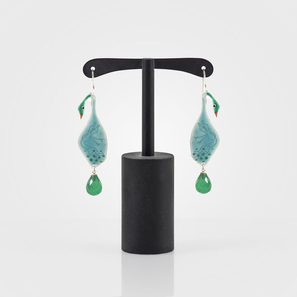 Duck Earrings with Green Onyx (Large)