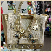 Gold Biker Jacket bags OptimismIC Gift Shop 6603 Queen Avenue S Minneapolis, MN 55423. Monday- Friday 5p-8p Saturday 12p-5p. www.optimismic.com