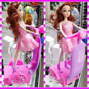 Doll with pink electric bike kids toys