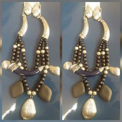 Blue and Black Neu beaded necklace set OptimismIC Gift Shop 6603 Queen Avenue S Minneapolis, MN 55423.