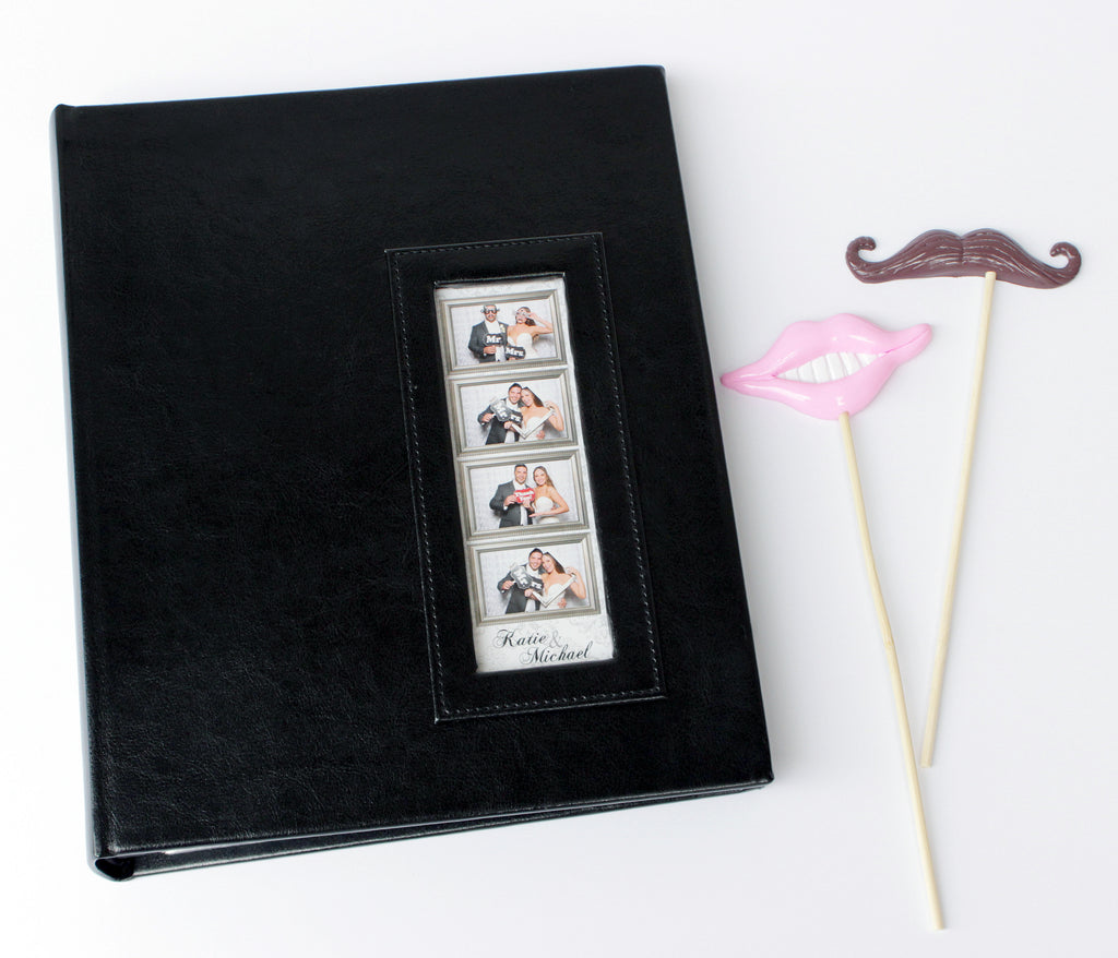 BULK (Pack of 5 PCS) BLACK Slip-in Photo Booth Album 2x6 Photos Box Included