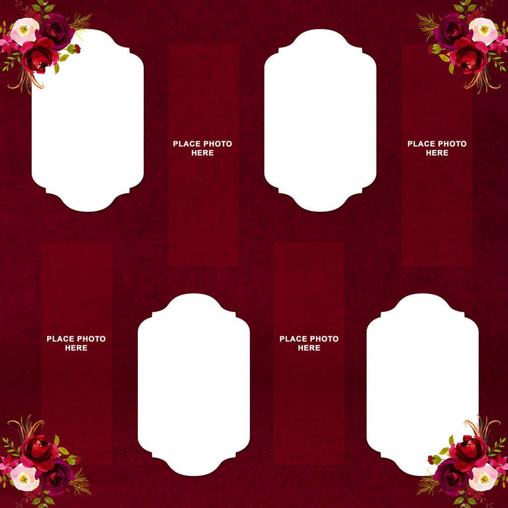 Burgundy Flowers Design Scrapbook Pages 2x6