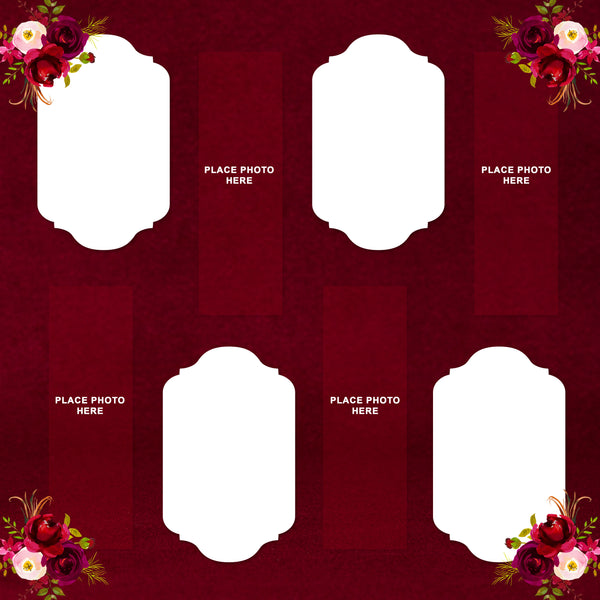 Burgundy Flowers Design Photo Booth Album Printed Pages 2x6