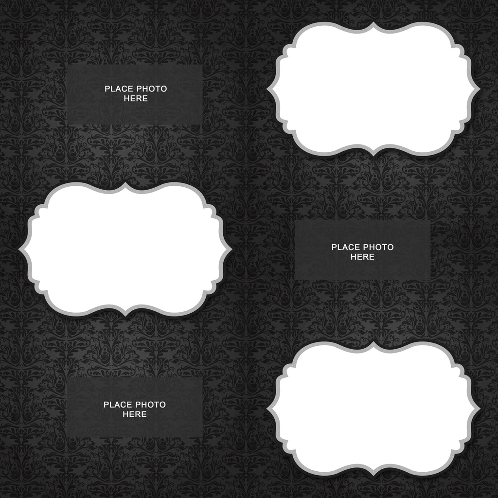 Black Damask Design Scrapbook Pages 4x6