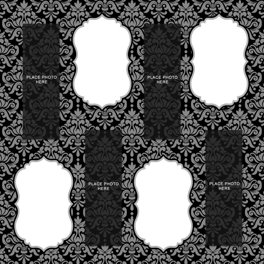 Dark Gray Damask Scrapbook Pages 2x6