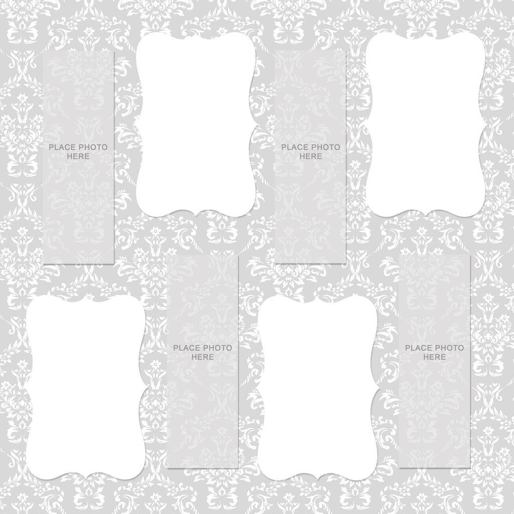 Light Gray Damask Design Scrapbook Pages 2x6