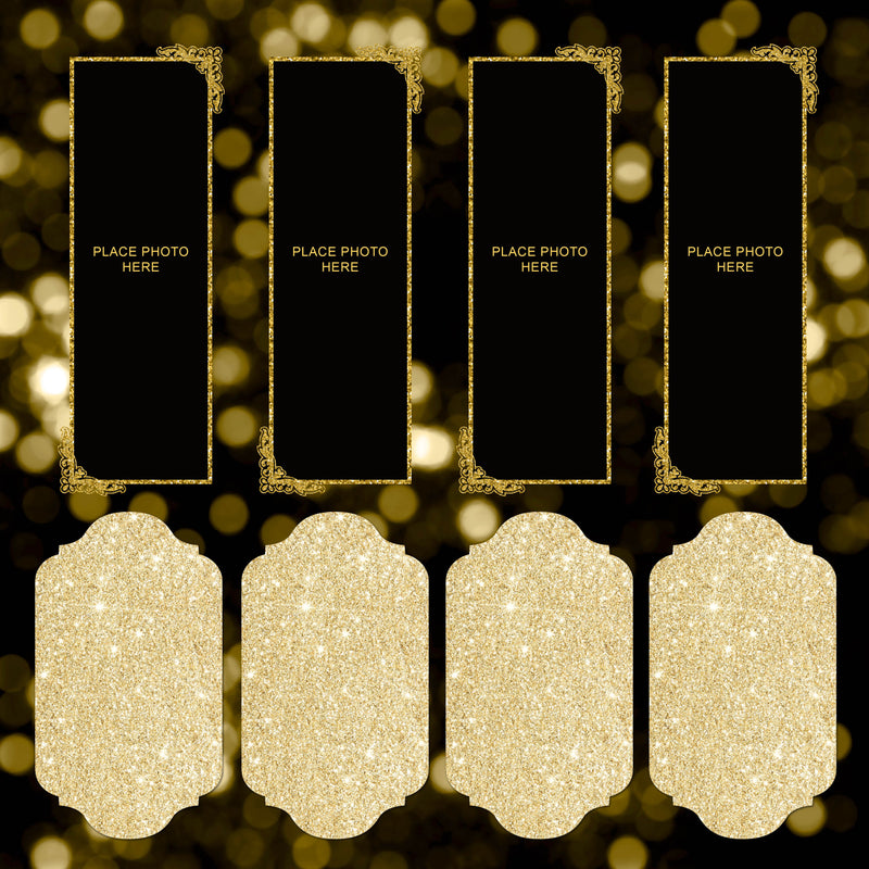 Glitter Gold and Black Scrapbook Pages 2x6
