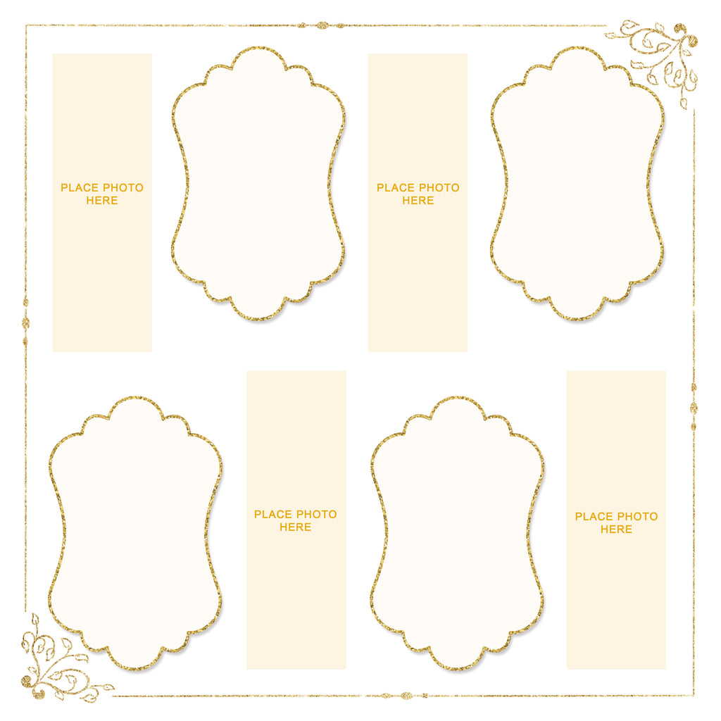 Ivory and Gold Design Photo Booth Album Pages 2x6