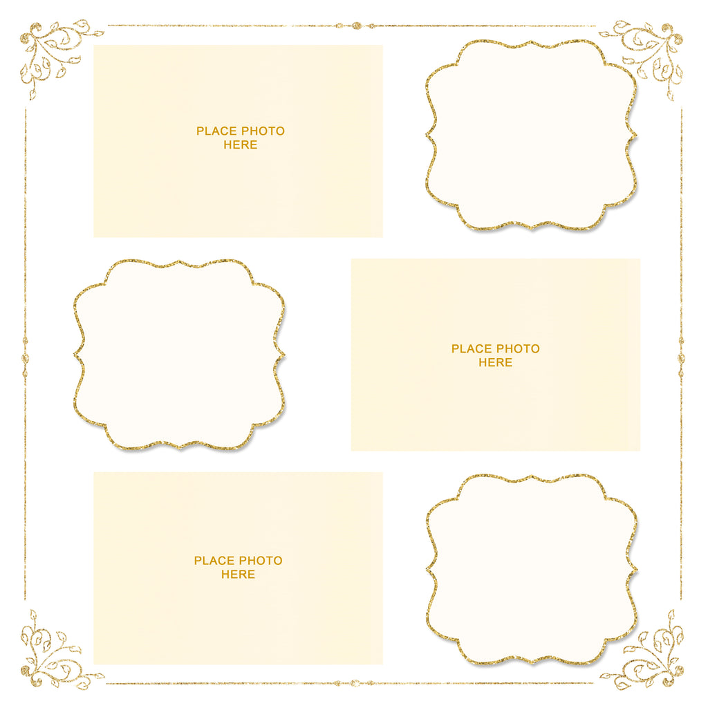 Gold & Ivory Design Scrapbook Pages 4x6