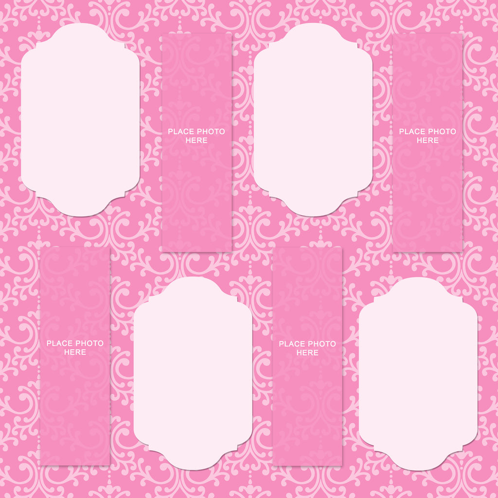 Pink Damask Design Scrapbook Pages 2x6