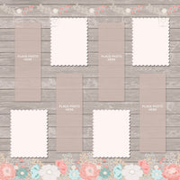 Rustic Wood with Flowers Design Photo Booth Album Pages 2x6