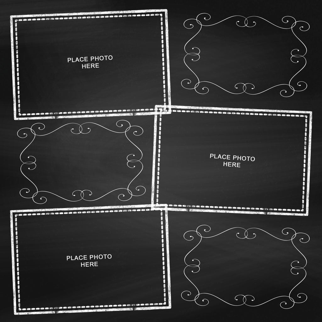 Chalkboard SWIRL Design Scrapbook Pages 4x6