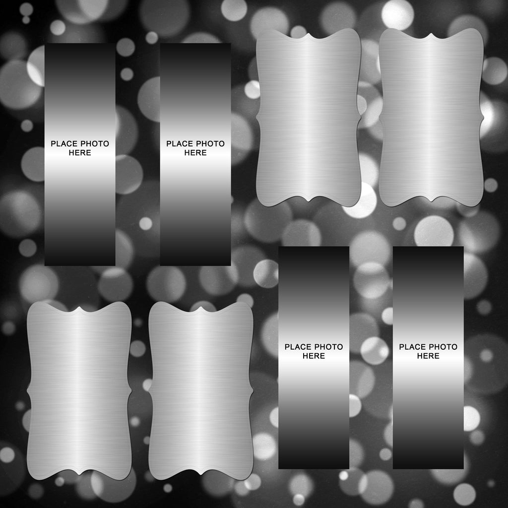 Metallic Silver Design Scrapbook Pages 2x6