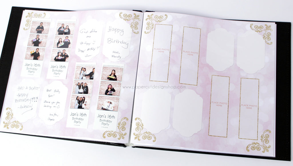 Blush Pink and Gold Scrapbook Pages 2x6