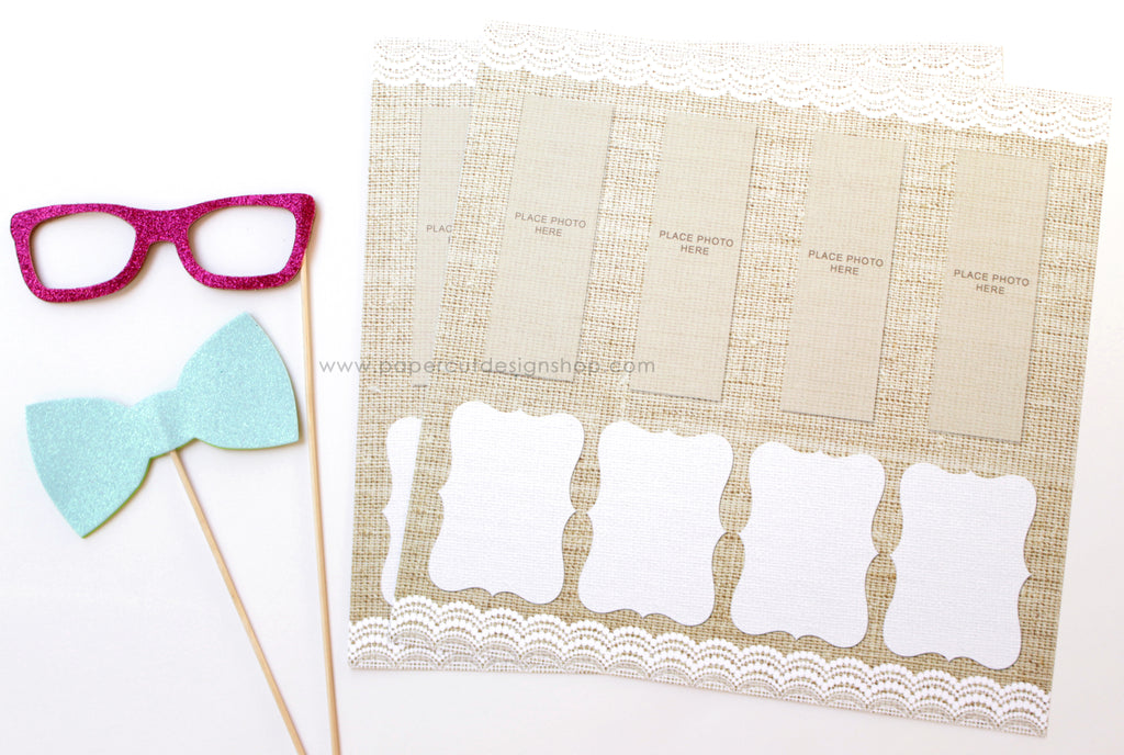 Burlap and Lace Design Scrapbook Pages 2x6