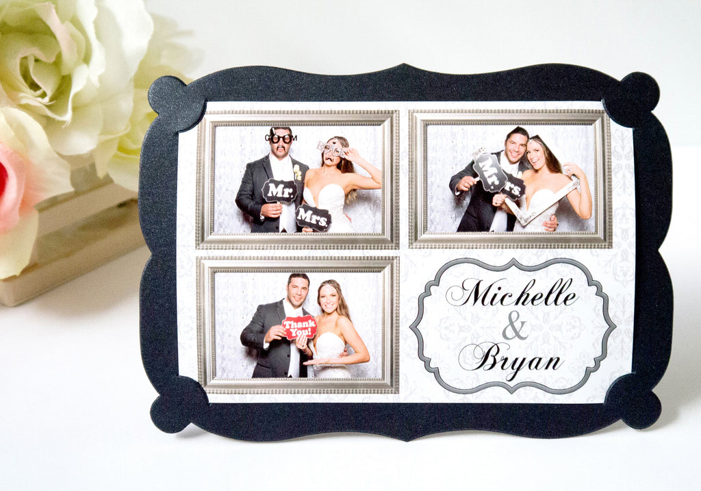 Photo Frame Metallic Shimmer Black 4x6 Fancy Style