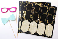 Glitter Gold and Black Photo Booth Album Pages 2x6