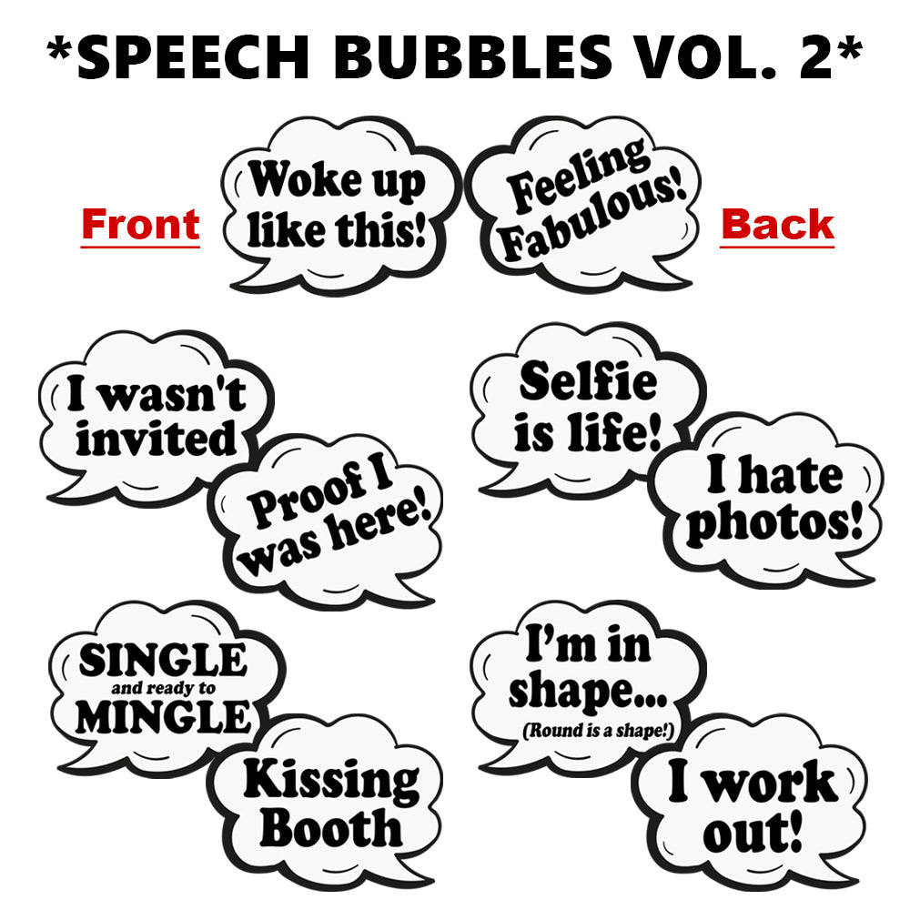 OVERSIZED Speech Bubbles 2 PVC Photo Booth Props