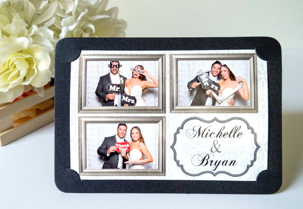 Photo Frame Metallic Shimmer Black 4x6 Rounded Corner Style