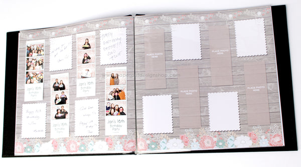 rustic wood with flowers design photo booth album pages 2x6 paper