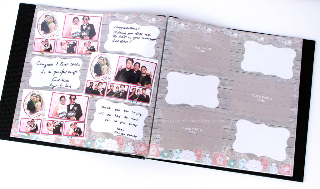 Rustic Wood with Flowers Design Scrapbook Pages 4x6