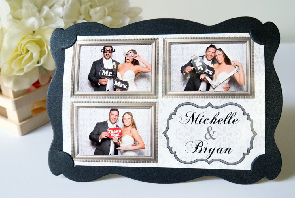 Photo Frame Metallic Shimmer Black 4x6 Wavy Style - 100 PCS