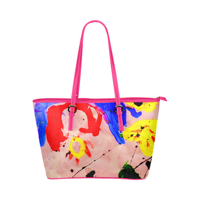 Pink Sunny Leather Tote Bag/Large