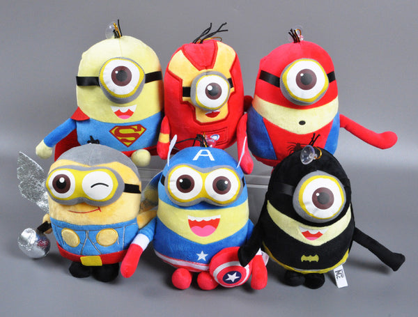 Minions Superheros Cartoon Plush Toy 3D Eyes Design Toys  Stuffed Doll