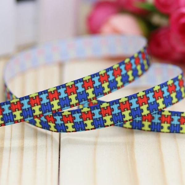 Autism awareness printed  ribbon hair-bow head wear