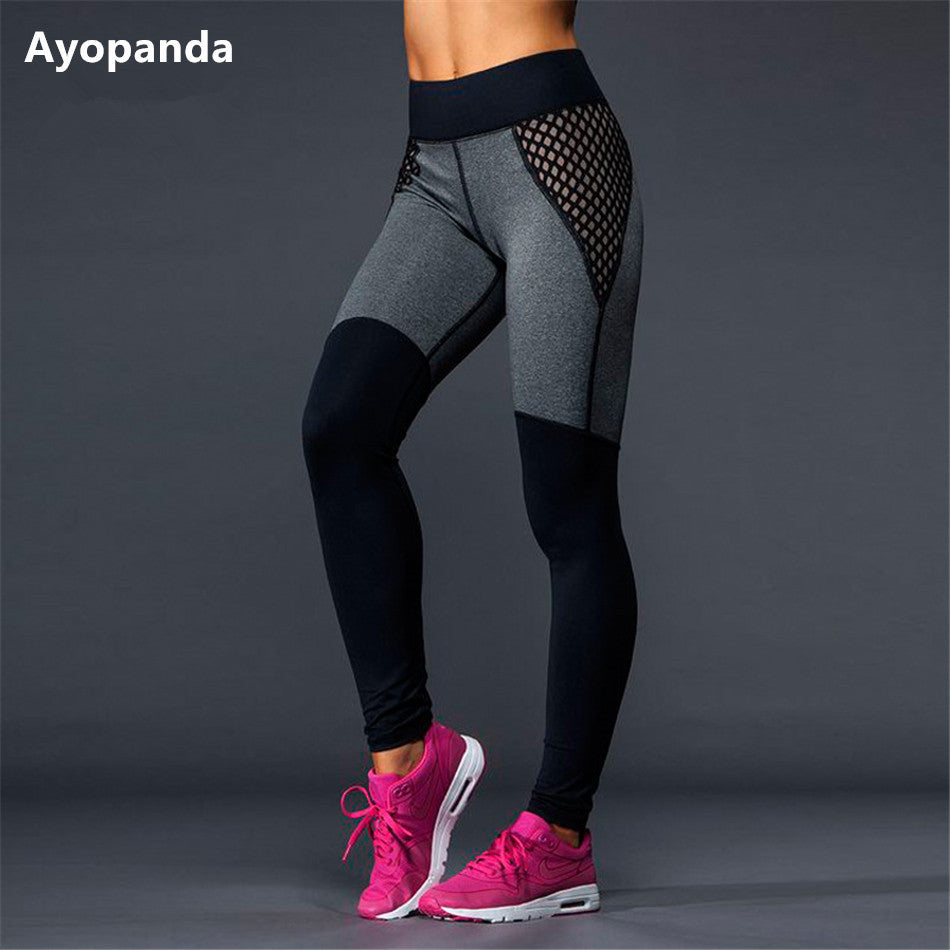 Mesh Yoga Black/Grey Patchwork Full Length Running Workout Leggings
