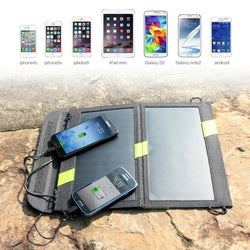 Solar Panel Charger Dual Output Solar Power Bank Camping Outdoor Cellphone Charger