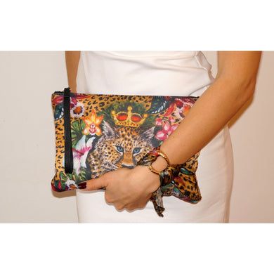 Leopard clutch bag & silk bracelet set - Nail-itious