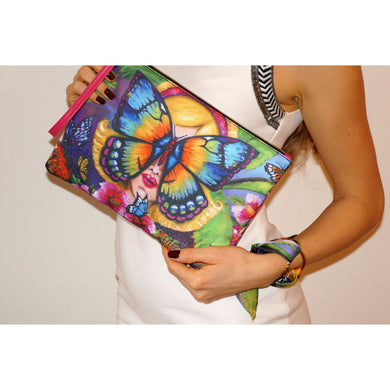 Butterfly clutch bag & silk bracelet set - Nail-itious