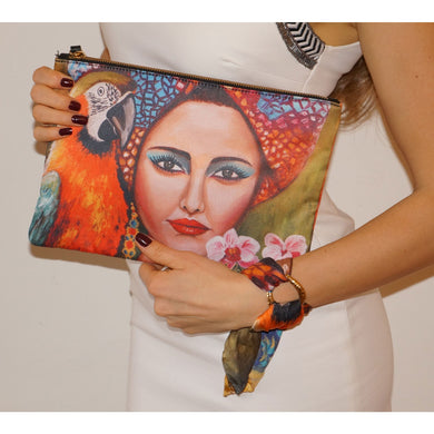 Tropical girl clutch bag & silk bracelet set - Nail-itious