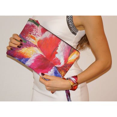 Blooming iris clutch bag & silk bracelet - Nail-itious