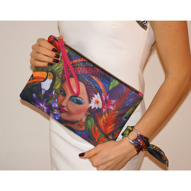 Exotic woman clutch bag & silk bracelet set - Nail-itious